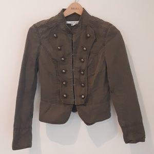 Zara dark green fitted jacket button accents